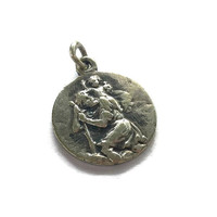 Saint Christopher Medal . Vintage French Religious Medallion . Silver Toned Metal Charm from France .