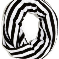 Line By Me Black and White Striped Infinity Scarf