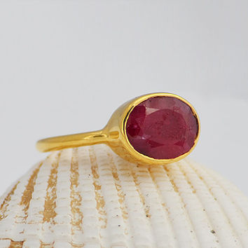 Faceted Ruby Vermeil Gold oval stacking bezel set ring - July Birthstone, available in vermeil gold or sterling silver