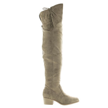 Merry53 Taupe Velvet by Wild Diva, Taupe Suede Over The Knee OTK Side Lace Slouchy Suede Riding Boots