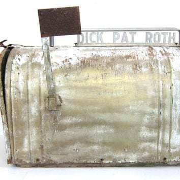 Vintage distressed metal mailbox / large metal farmhouse mail box / wedding card holder box decor