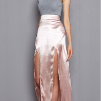 Simple silky satin skirt split