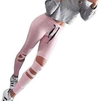 Women Casual Hollow Out Holes Leggings Esletic Waist Lace-up Slim Pink Leggings Workout Long Pants