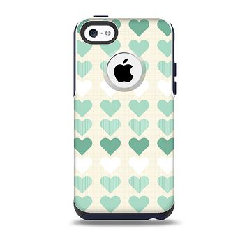The Scratched Vintage Green Hearts Skin for the iPhone 5c OtterBox Commuter Case