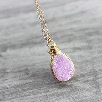 Pink Druzy Necklace, Gold Fill Necklace, Drusy Gemstone Necklace, Light Blush Pink Jewelry, Wire Wrap Necklace, Teardrop Pendant Necklace
