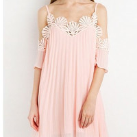 Pink Scallop Lace Trim Cutout Shoulder Cami Swing Dress
