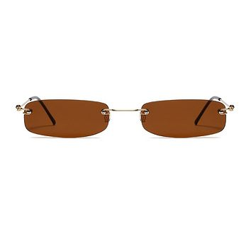 The Skinny Rectangle Sunglasses Brown