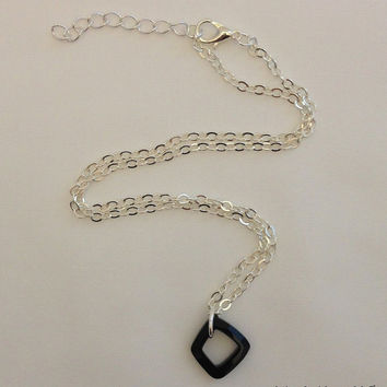 Swarovski Pendant Necklace – jet black square pendant w/ delicate silver plated chain. Cosmic ring, Casual everyday necklace, gift for her