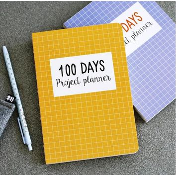 """Grid World"" 100 Days Project Planner Study Agenda Notebook Daily Scheduler Grid Papers Journal 13cm x 18.5cm"