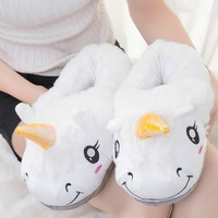 2018 Winter Indoor Slippers Plush Home Shoes Unicorn Slippers for Grown only one size Home Slippers Shoes Christmas gift 1027W