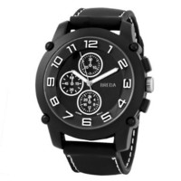 "Breda Men's 8135-black ""Colton"" Black Bezel White Accented Silicone Band Watch"
