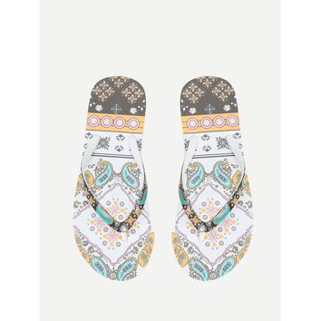 Mixed Print Flat Slippers