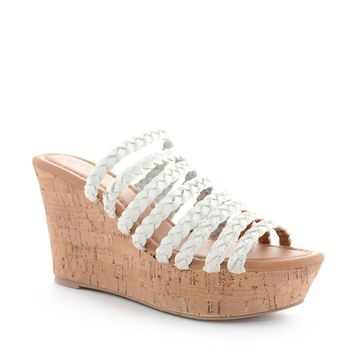 White Ariel Braided Strap Wedge Sandals