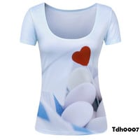 Stones beating heart T Shirts Women Newest Scoop Neck T-Shirt  Fashion and elegant clothes Woman Tee Shirt Shirt Womens