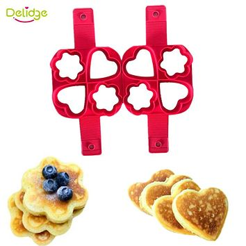 Delidge 1 pc Flower And Heart Shape Egg Mold Silicone Non Stick Pancake Cooking Pan Perfect Eggs Omelette Maker