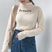 Future Embroidered Mock Neck Sweater