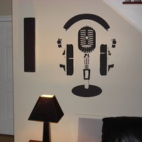 Wall Vinyl Sticker Decals Mural Kid Headphones Microphone Record Studio 021