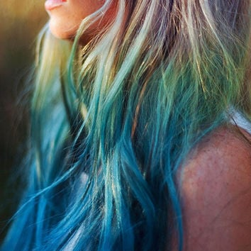 Set of 5 - Ombre Colored Hair Chalk - Blue, Green and Yellow - Premium Salon Grade - Temporary Color Pastels