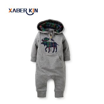 Xaber Kin Baby Rompers New 2017 Thicken Baby Boys&Girls Autumn Winter Rompers Jumpsuits Long Sleeve Rompers For Baby CC850