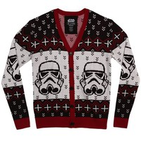 Mighty Fine Star Wars Storm Trooper Christmas Cardigan Sweater (Large)
