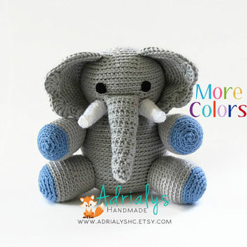 Crochet Elephant- Crochet Animals | Crochet Toy | Elephant Nursery Decor | Elephant Baby Shower | Safari Animals | Custom Made to Order