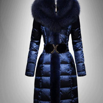 High quality luxury thickening fox fur large fur collar over-the-knee quality medium-long female down coat women plus size 4XL