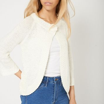 High Fashion Crochet Pattern Ladies Cream Cardigan Available In Plus Sizes