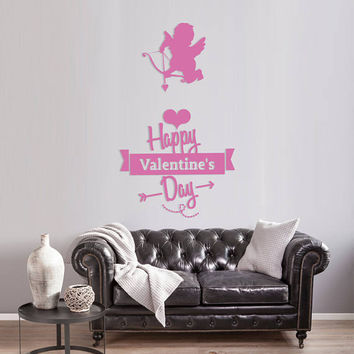 Happy Valentine's Day Wall Decal, Cupids Angels Wall Sticker, Valentine's Day Wall Decor, Love Day Angels Quote Wall Art Mural Decal se106