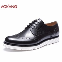 New Arrival men shoes leather genuine shoes man high quality brogue shoes comfortable dress shoes