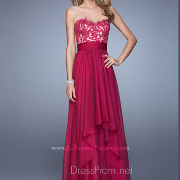 Strapless Sweetheart La Femme Formal Prom Gown 20557