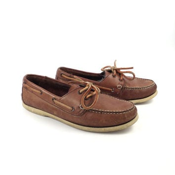 Leather Boat Shoes Vintage 1980s Trader Bay Brown Lace up Boat Shoes men's size 8