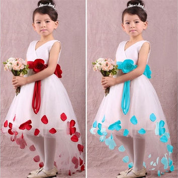 New 2015 Girls Red Cotton V Neck Princess Dress With Flower Belt For Children Clothes Kids Summer Party Dresses [7982835847]