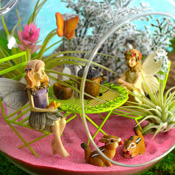 "Fairy Garden Tea Party Terrarium Kit ~ 7"" Air Plant Terrarium Kit ~ 2 Fairies ~ Table and Acorn Tea Set ~ Butterfly Choice ~ Mother's Day"