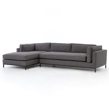 ADRIAN CHARCOAL 2 PC SECTIONAL SOFA - BENNETT CHARCOAL