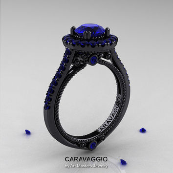 Caravaggio 14K Black Gold 1.0 Ct Blue Sapphire Engagement Ring, Wedding Ring R621-14KBGBS