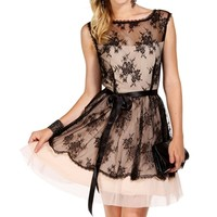 Zelda- Black/Champagne Homecoming Dress