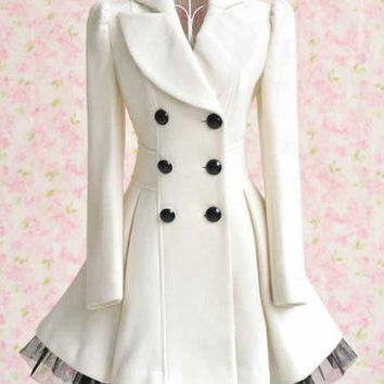 Women Double-Breasted White Woolen Dress Coat (S/M/L/XL/XXL)