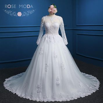 Rose Moda Long Sleeves Ball Gown Pearl Beaded High Neck Muslim Wedding Dress Arabic Wedding Dresses 2018