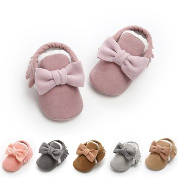 2018 New Romirus Cute Bow Baby Girls Winter Booties Infant Toddler Shoes Fashion Baby Moccasins First Walkers