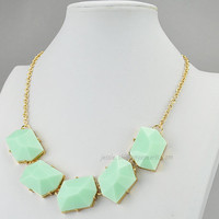 Mint Necklace,Gold Tone Necklace,Mint Resin Necklace, Statement Necklace (FN0569)