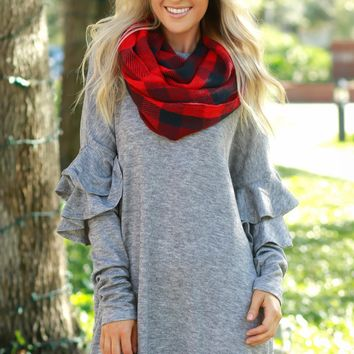 Ruffle Sleeve Sweater Dress Heather Grey