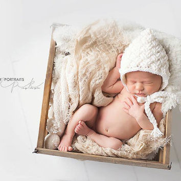 Crochet Pattern for Diagonal Weave Pixie Bonnet Hat - 6 sizes, newborn to child - Welcome to sell finished items