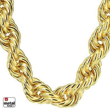 Jewelry Kay style Hip Hop Men's Rapper 14K Gold Plated Hollow Chunky Rope Chain Necklace 14 mm 30""