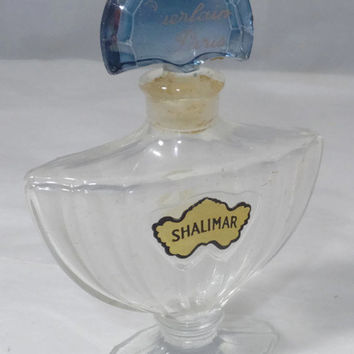 Vintage Shalimar Perfume Bottle, Guerlain Paris, Eau de Parfum,  1/2 ounce, Original Label and Stopper, Classic Collectible Vanity