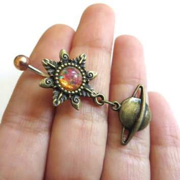 Pink Opal Starburst Saturn Belly Button Ring Navel Piercing Bronze Sun Stud Bar Barbell Star Burst Sunburst Galactic Galaxy Space Planet