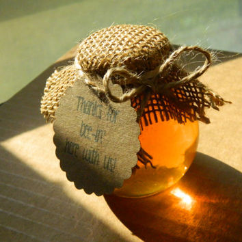 10 Honey Favors in bulb shaped jars with tag