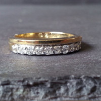 Vintage Gold Diamond Half Eternity Ring, Gold Diamond Ring, Wedding Band Classic Elegant Engagement Ring, Anniversary Gift