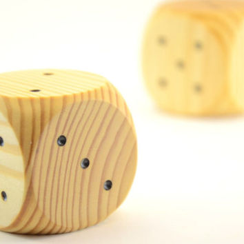 Large natural wood dice for kids inspired by Waldorf and Montessori education for board games and family games