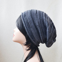 black gray hat Slouchy Beanie Womens men's unisex Knitting Hat, Accessories teen hat