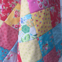 Baby Girl Quilt, Crib Bedding, Shabby Chic Patchwork, Flower Sugar Quilt, Retro Crib Quilt, Red, Pink, Turquoise, Yellow Gray